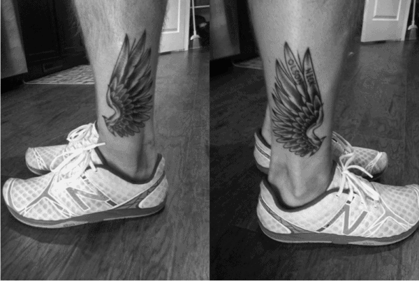 Small Wings Male Hermes Ankle Tattoos