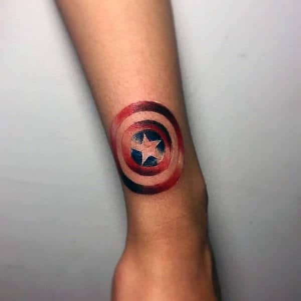 Small Wrist Captain America Shield Guys Red White And Blue Tattoo Ideas