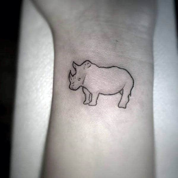 Small Wrist Rhino Tattoo For Men With Simple Black Ink Outline Design