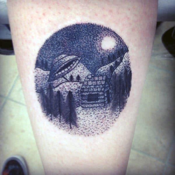 Small0ufo On A Snowy Night Tattoo Male Lower Legs
