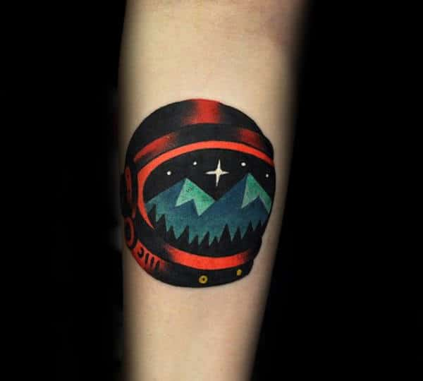 Smalll Mens Amazing Tattoo Of Astronaut Helmet On Forearm