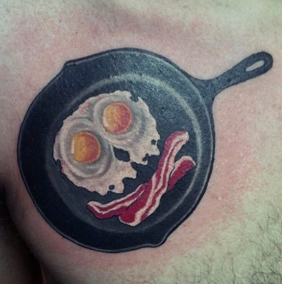 Smiley Bacon And Eggs Food Tattoo Male Chest