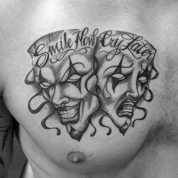 Smilie Now Cry Later Chest Artistic Male Drama Mask Tattoo Ideas