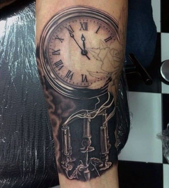Smokey Candles And Pocket Watch Tattoo On Arms For Guys