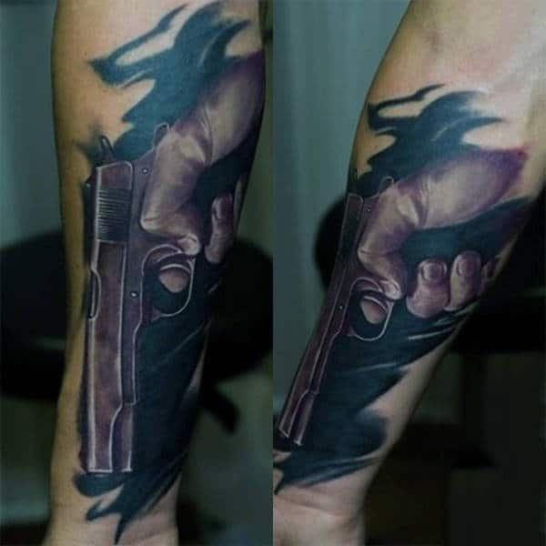 Smokin Guns Tattoo For Men