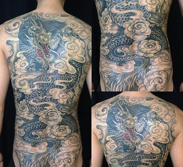 Smoking Chinese Dragon Mens Full Back Tattoos