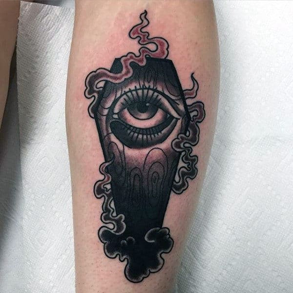 Smoking Eye Coffin Mens Tattoo