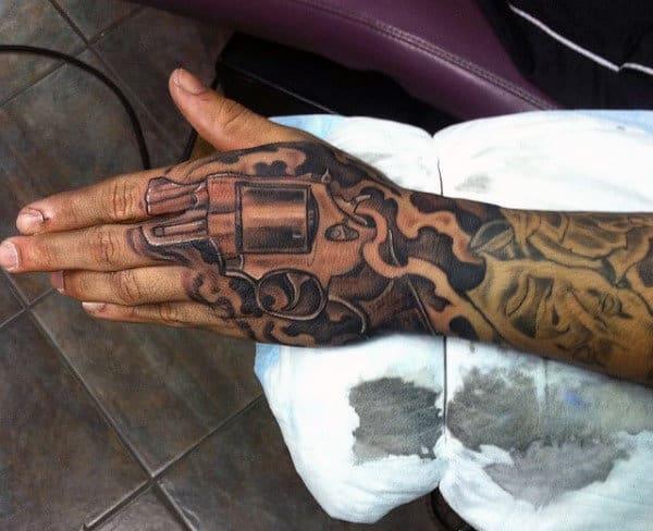 Smoking Guns Tattoo For Gentlemen On Hands