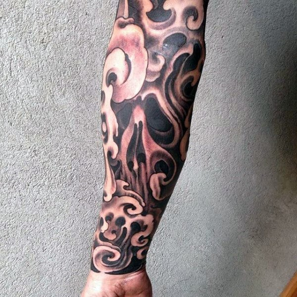 Smoking Guys Half Sleeve Skull Tattoos