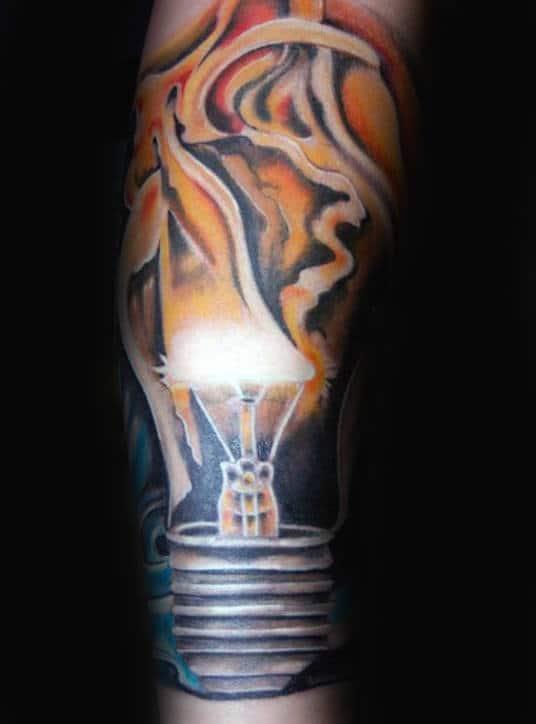 Smoking Light Bulb Male Arm Tattoo