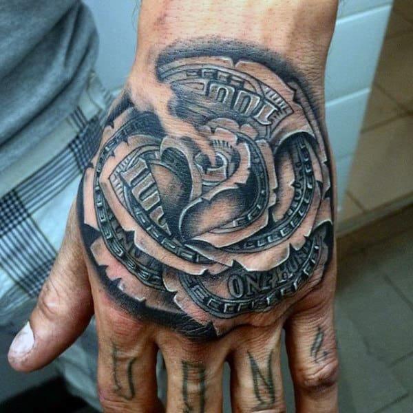 nexluxury money 16 rose hand tattoos