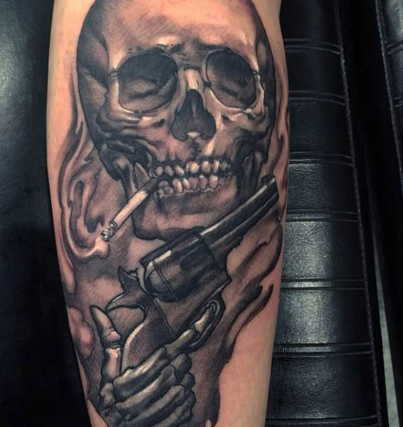 81bac1047ccf2 Smoking Skull With Piston Tattoo On Calves For Men. Superb Pistol And Rose  Tattoo Half Sleeve Guys