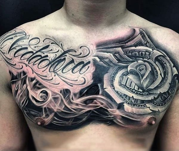 Smoking Upper Chest Money Rose Flower With Lettering Tattoo On Man