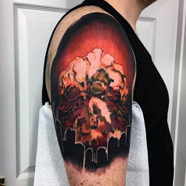 Smoky Red Combustion From Bomb Tattoo Male Arms
