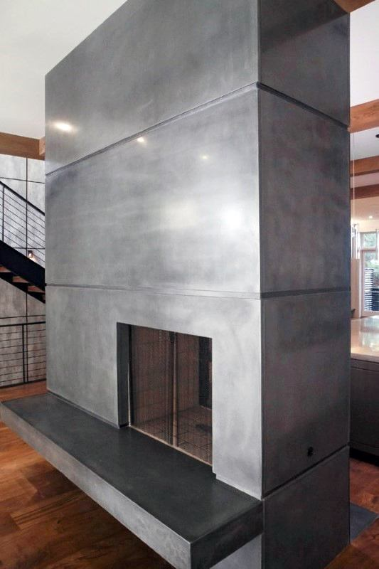 Smooth Polished Concrete Fireplace Design