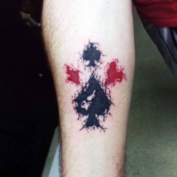Smudgy Card Suits Symbols Tattoo Male Forearms