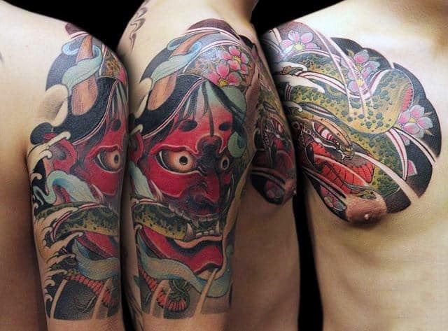 Snake And Hannya Mask Mens Half Sleeve Tattoo