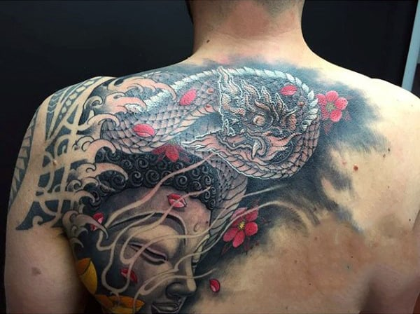 Snake And Meditating Buddhist Tattoo On Upper Back For Men