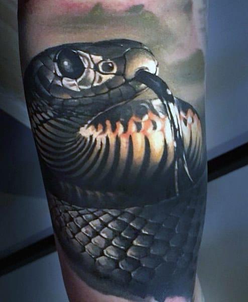 Snake And Skull Tattoo For Men