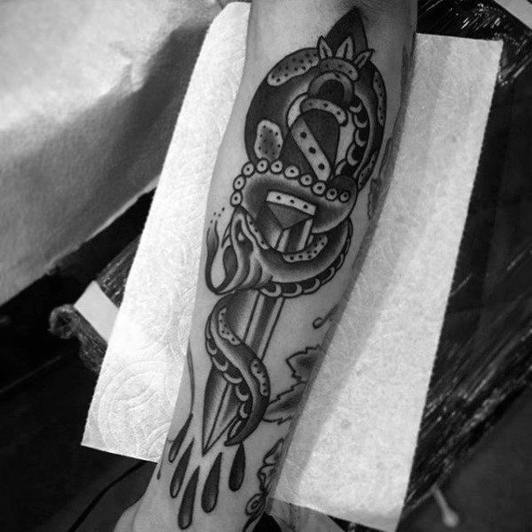 Snake Dagger Tattoo Designs For Gentlemen