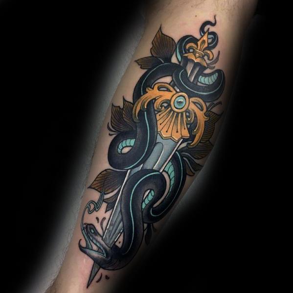 Snake Dagger Tattoo Inspiration For Men