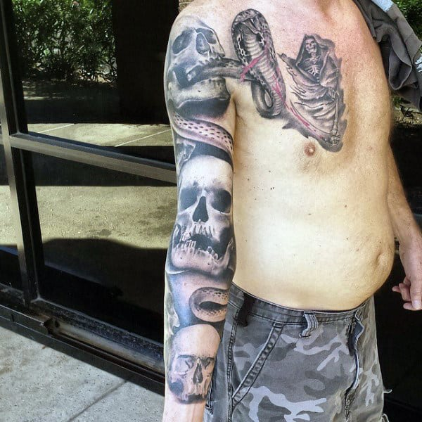 Snake Male Skull Tattoo Sleeve Designs