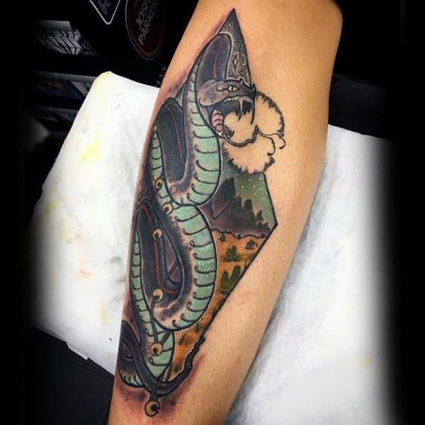 Snake Mens Traditional Shin Tattoo Ideas