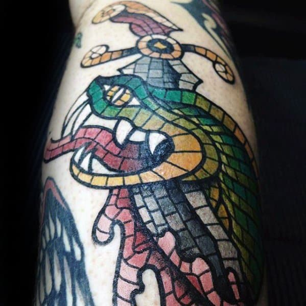 Snake Sword Leg Mosaic Guys Tattoo Designs