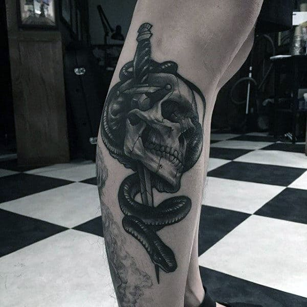 Snake Sword Tattoo For Guys