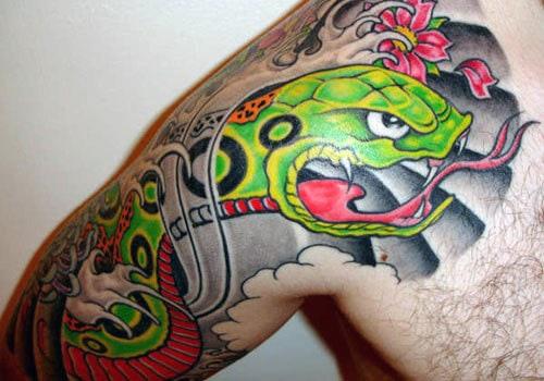 Shoulder Snake Tattoos Male Designs