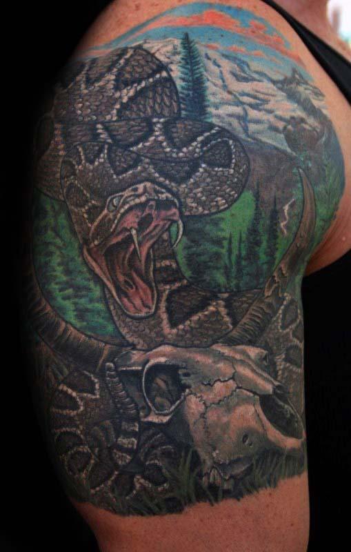 Snake With Bull Skull Mens Half Sleeve Tattoos