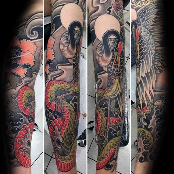Snake With Crane Mens Japanese Sleeve Tattoos