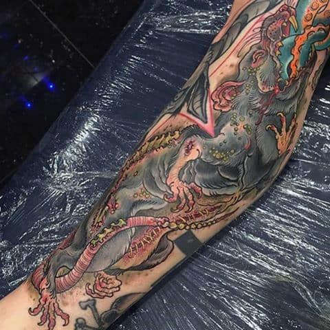 Snake With Rat Mens Full Leg Tattoo Design Ideas
