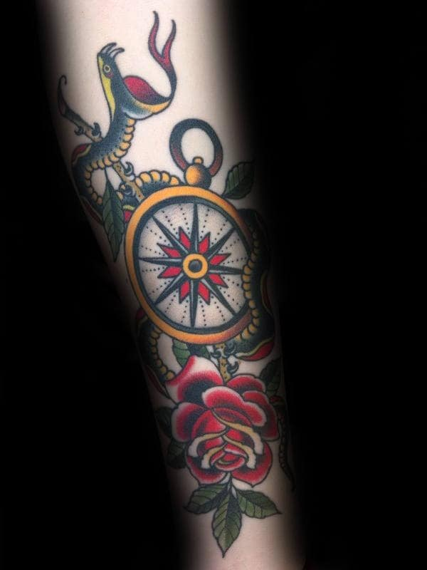 Snake With Rose Flower And Compass Guys Traditional Forearm Tattoo