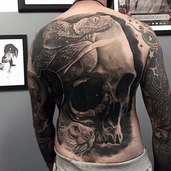 Snake With Skull Black Ink Realistic 3d Male Back Tattoos