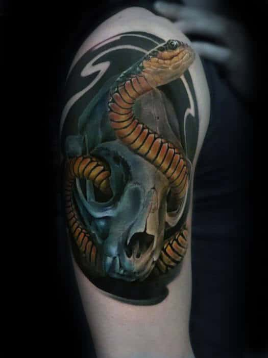 Snake Wrapped Around Skull Guys 3d Upper Arm Tattoo Designs