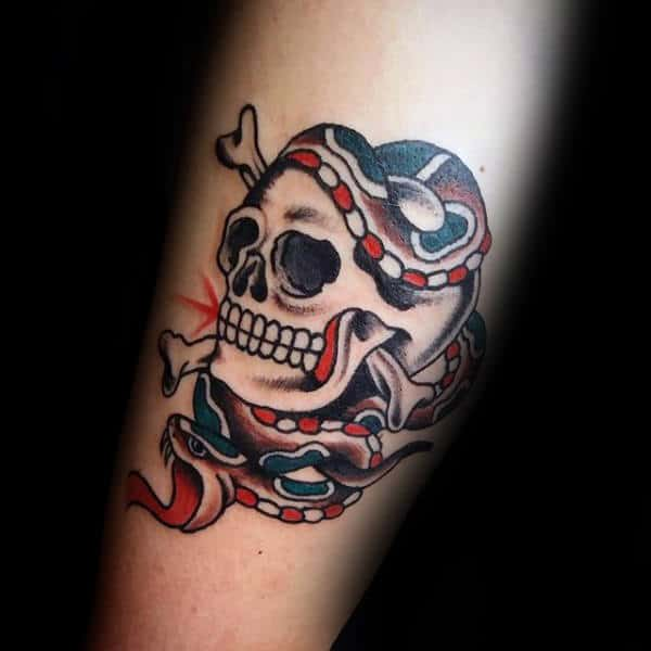 Snake Wrapped Around Skull Guys Traditional Forearm Tattoo Design Inspiration