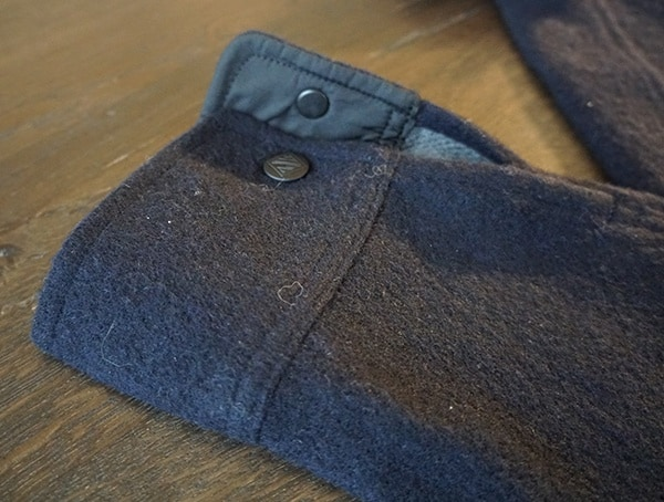 Snap Button Closure On Wrist Topo Designs Wool Shirt For Men