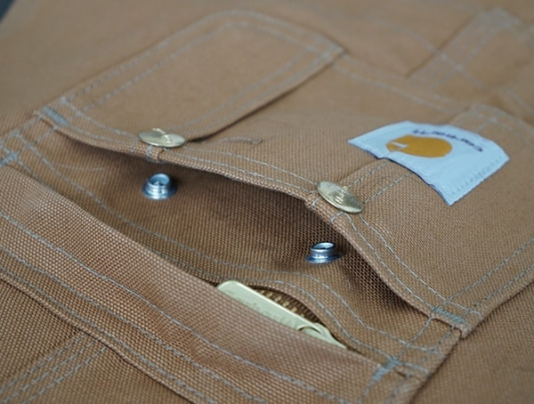 Snap Button Upper Chest Compartments Mens Carhartt Quilt Lined Zip To Thigh Bib Overalls