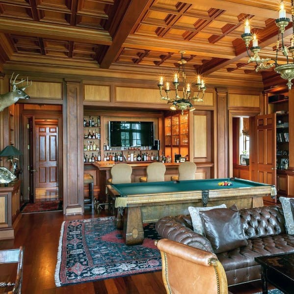 Snooker Room Billiards Design Ideas With Coffered Ceiling