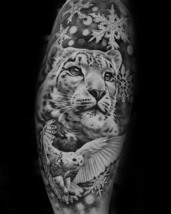 Snow Leopard Male Tattoo Designs