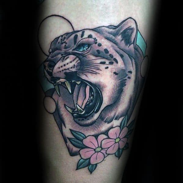Snow Leopard Mens Tattoo Ideas