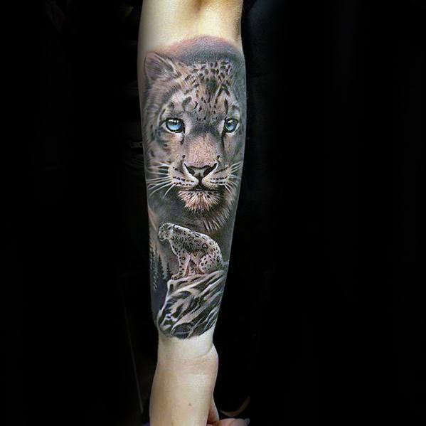 Snow Leopard Tattoo Ideas For Males
