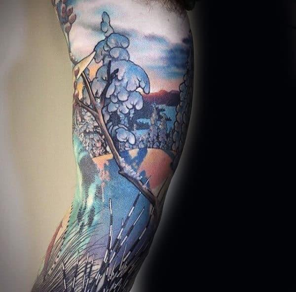 75 Tree Sleeve Tattoo Designs For Men