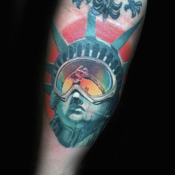 Snowboard Goggle On Statue Of Liberty Tattoo Male Forearms