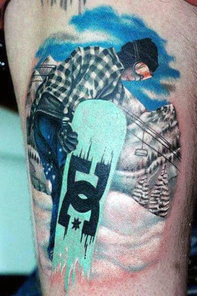 Snowboarder Realistic Guys Thigh Tattoo