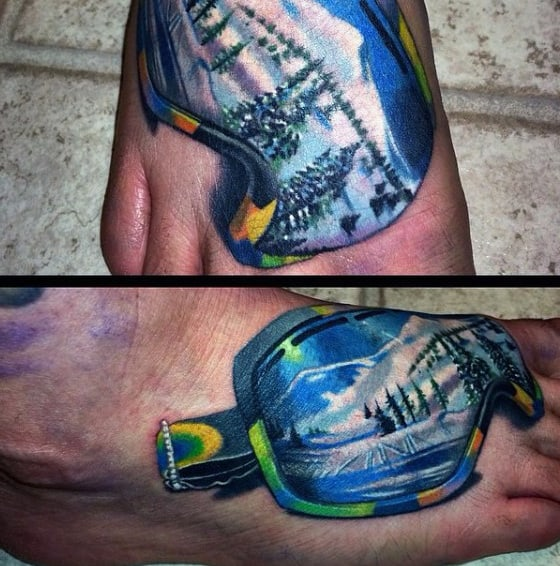 Snowboarding Googles Modern Guys Foot Tattoos
