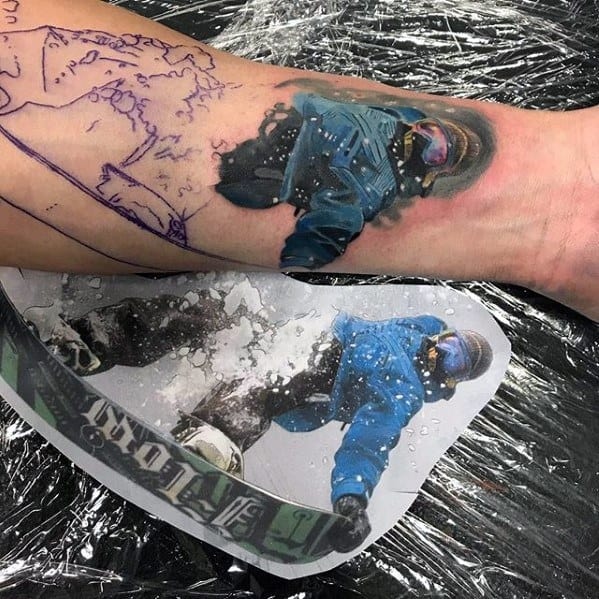 Snowboarding Mens Tattoo Ideas With Sports Design