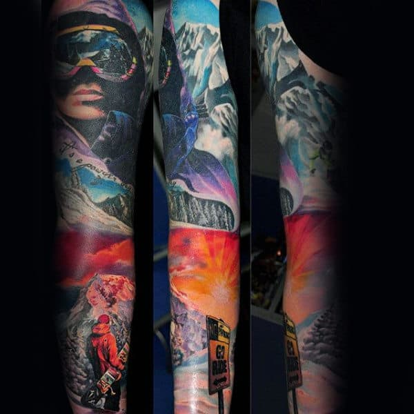 Snowboarding Themed Guys Full Sleeve Sky Tattoos
