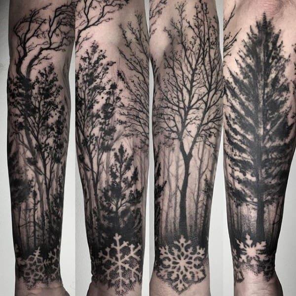 Snowflake Dotwork Tree Sleeve Forearm Male Tattoos